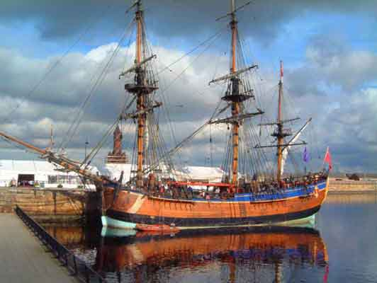 Replica Bark Endeavour offers sightseeing trips out of Whitby Harbour