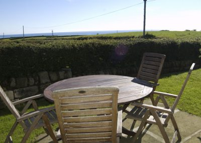 Outdoor dining area with sea views