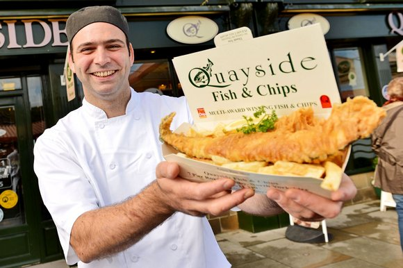 Fish and chips on the quayside while fighting off the gulls is a great British tradition