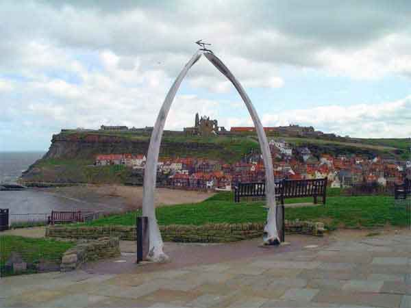 Whitby's famous Whale Bones framing the Abbey